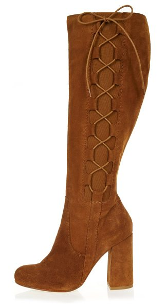 River Island tan suede knee high lace-up boots in tan - Suede upper Round toe Knee high design Lace up side...