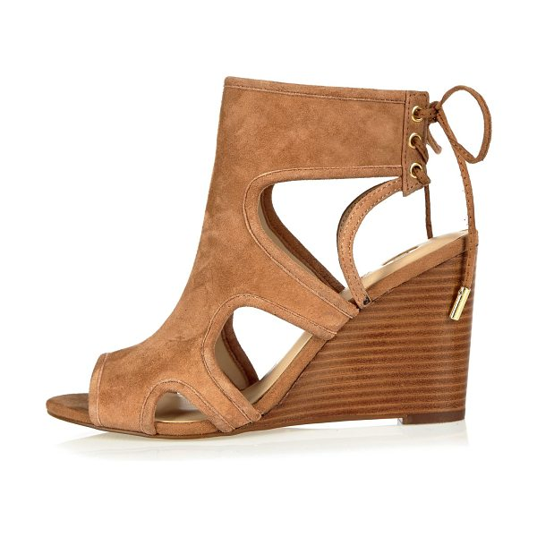 River Island tan suede cut-out peep toe wedges in tan - Suede Open peep toe Cut-out sides High ankle design...