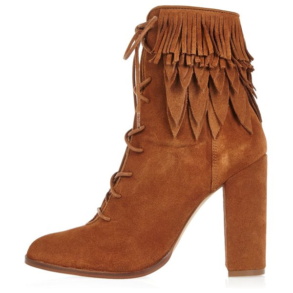 River Island tan suede lace-up fringed heeled boots in tan - Suede Rounded toe Lace-up front High ankle design...