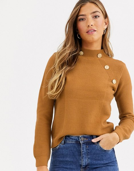 River Island turtleneck sweater with gold buttons in toffee-brown in brown