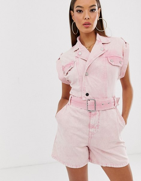 River Island utility romper in pink in pink