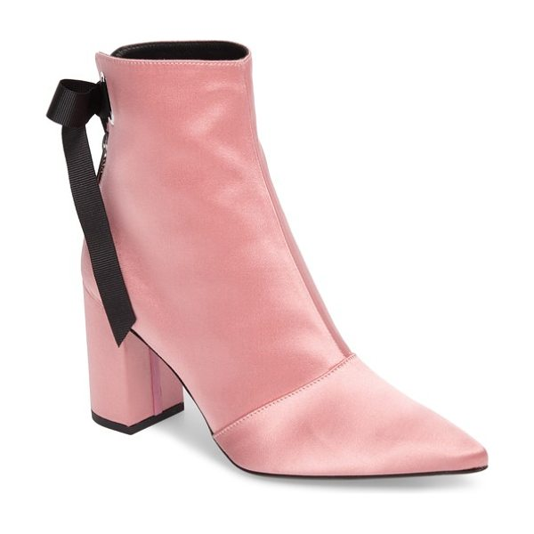 Robert Clergerie x self-portrait karlis pointy toe bootie in pink - A pink-satin bootie with a wicked pointy toe is secured...