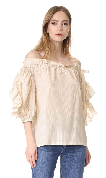 Robert Rodriguez striped ruffle short sleeve top in taupe - Ruffled peasant sleeves bring striking volume to this...