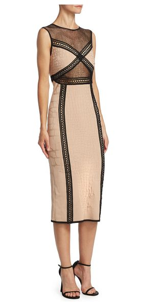 Roberto Cavalli jacquard midi dress in nude black - Elegant jacquard midi dress with bold contrast trim....