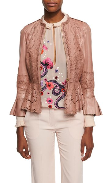 Roberto Cavalli Lace-Cutout Leather Peplum Jacket in espresso - Roberto Cavalli jacket in lambskin leather featuring...