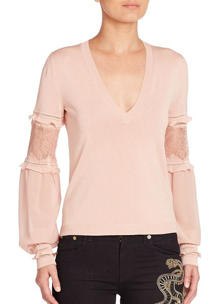 Roberto Cavalli lace-inset v-neck sweater in blush - V-neck sweater with ruffled lace-inset blouson sleeves....