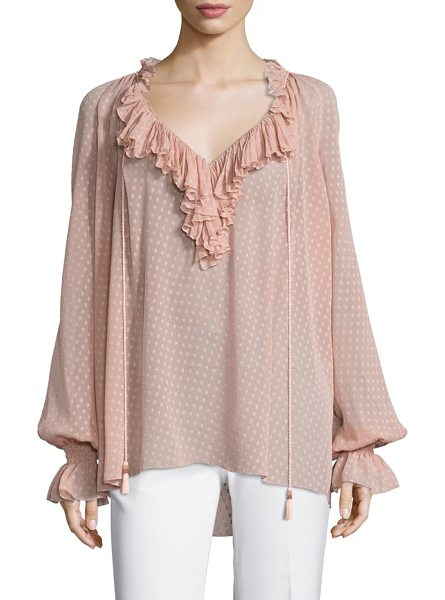 Roberto Cavalli long sleeve ruffle blouse in blush - Silk long-sleeve blouse with cascading ruffle...