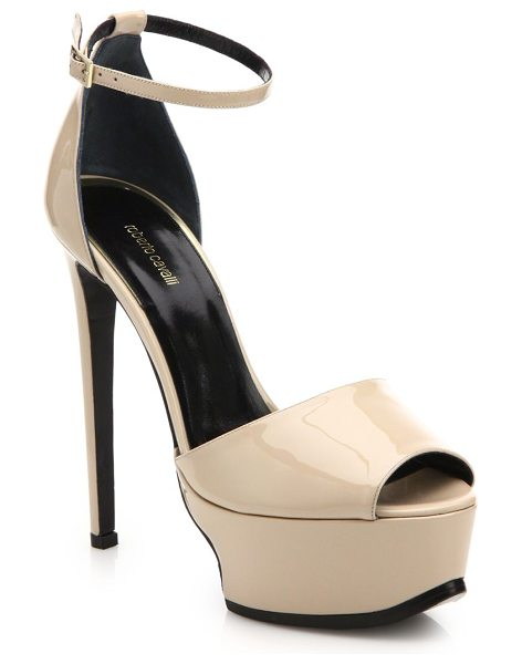 Roberto Cavalli Patent leather platform sandals in sand - A lightly sculpted platform lends steadfast structure to...