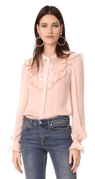 Roberto Cavalli printed blouse in tea rose - A soft chiffon Roberto Cavalli blouse, detailed with a...