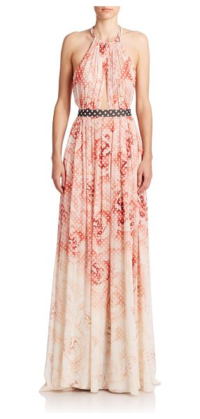 Roberto Cavalli Printed halter gown in rose - Graphic flair meets subtle allure in this printed silk...