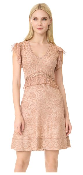 Roberto Cavalli short sleeve dress in cappuccino - Dainty ruffles trim the waist and sleeves on this...