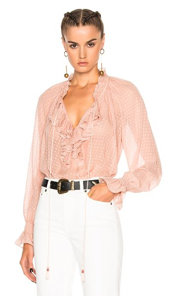 Roberto Cavalli Woven Blouse in blush - 100% silk. Made in Italy. Dry clean only. Sheer textured...