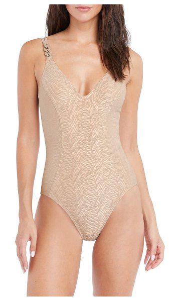 Robin Piccone eve scoop neck one-piece swimsuit in brown