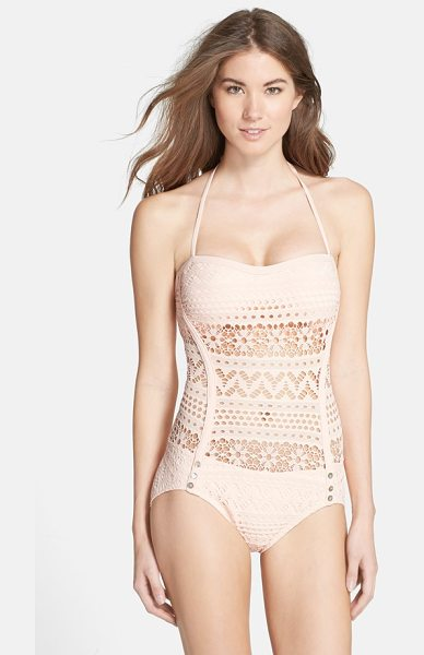 Robin Piccone mia crochet overlay one-piece swimsuit in pink coral - A sheer, pale-pink crochet overlay provides tasteful...
