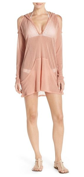 Robin Piccone sophia cold shoulder mesh hoodie in nude - Head to the pool in style in this sheer mesh cover-up...
