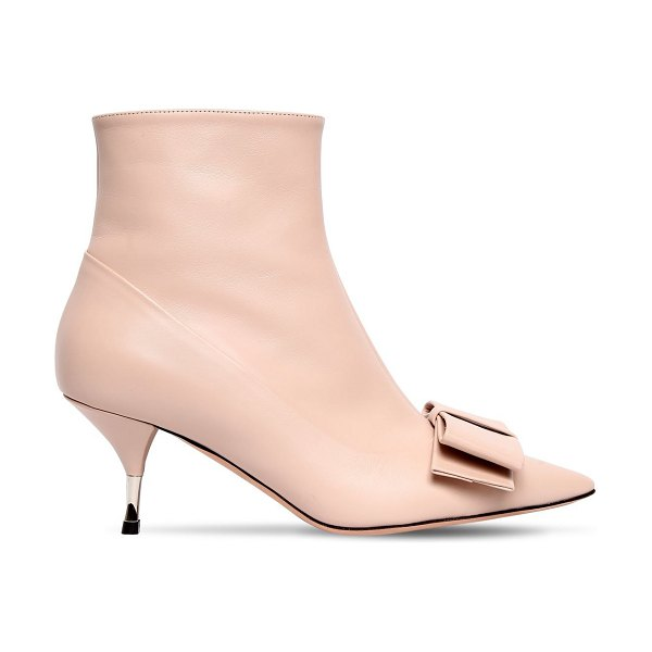 Rochas 60mm bow leather ankle boots in nude - 60mm Heel . Side zip closure . Pointed toe . Bow detail....