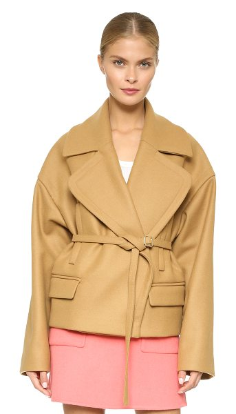 Rochas Oversized coat in medium beige - This boxy Rochas coat cuts a structured, yet swingy...