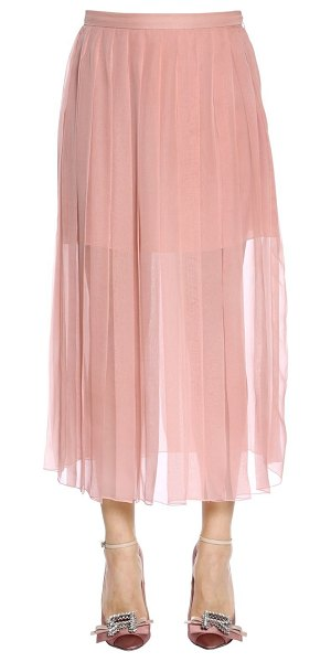 Rochas Pleated silk chiffon midi skirt in pink - Concealed side hook and zip closure . Pleated . Partial...