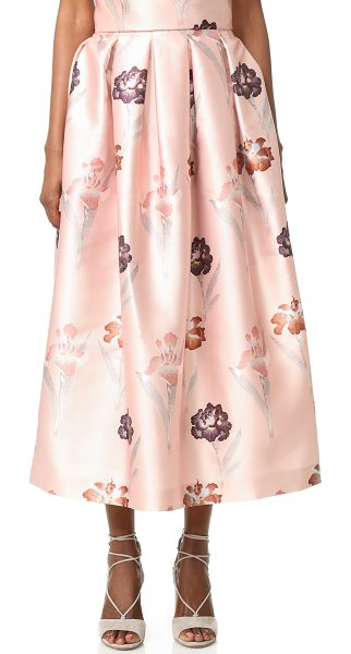 Rochas Floral Skirt in light beige - Luxe floral satin brings feminine style to this Rochas...