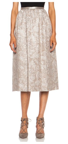 Rochas Silk knee length skirt in metallics,floral - 76% silk 24% poly.  Made in Italy.  Textured pleated...