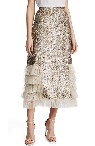 Rodarte metallic sequin ruffle skirt in gold/silver - Fabric: Embellished tulle Metallic embroidery / sequins...