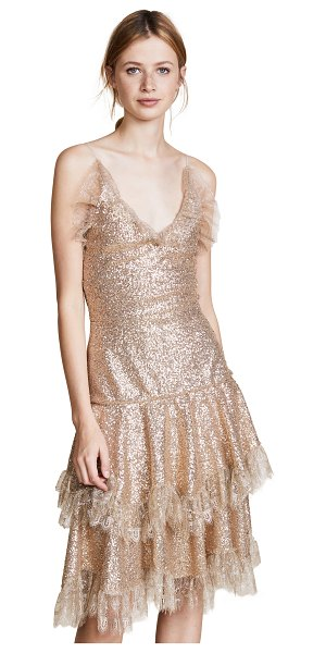 Rodarte metallic sequin tiered dress in gold - This delicate lamé Rodarte cocktail dress is covered in...