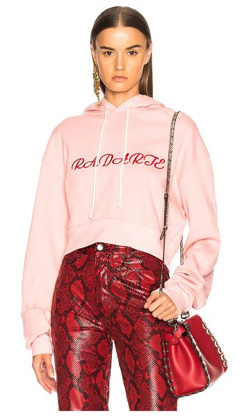 Rodarte Radarte LA Embroidery Cropped Hoodie in pink - 50% cotton 50% poly.  Made in USA.  Machine wash. ...