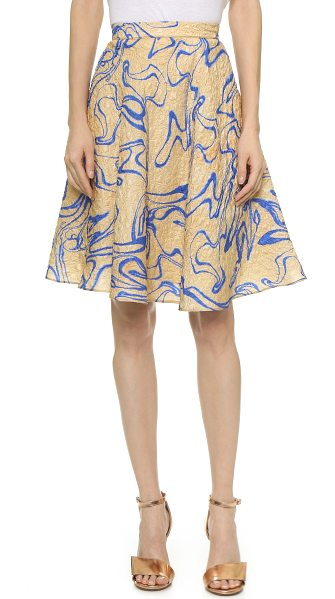 Rodarte Silk cloque flare skirt in shell/blue - A serpentine pattern lends a graphic touch to this...