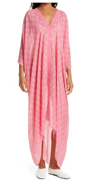 RODEBJER agave seahorse print silk dress in pink