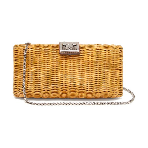Rodo leather trimmed wicker clutch bag in brown