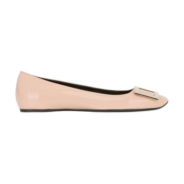 Roger Vivier 10mm trompette patent leather flats in nude - 10mm Leather sole. Leather upper. Metal buckle