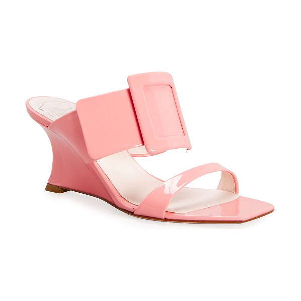 Roger Vivier 65mm Patent Buckle Wedge Sandals in pink