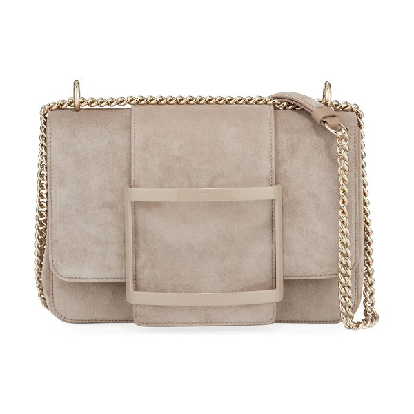 Roger Vivier Belle de Jour Suede Shoulder Bag in light brown