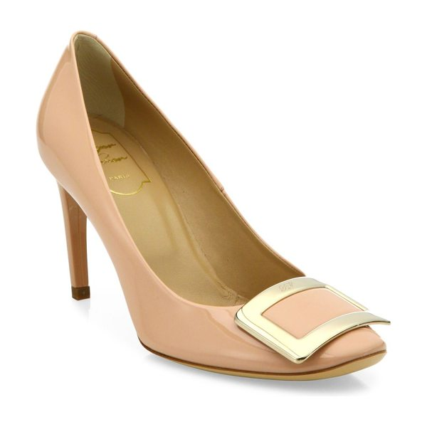 Roger Vivier belle de nuit buckle patent leather pumps in nude - Signature buckle adds polish to patent leather pump....