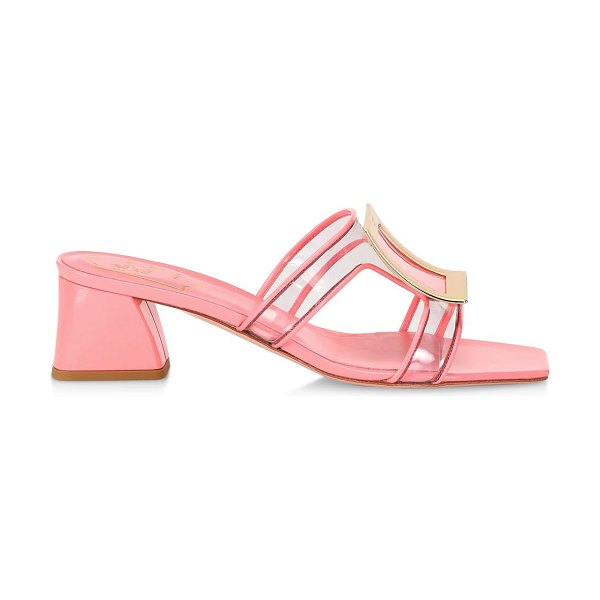 Roger Vivier bikiviv pvc & leather mules in clear pink