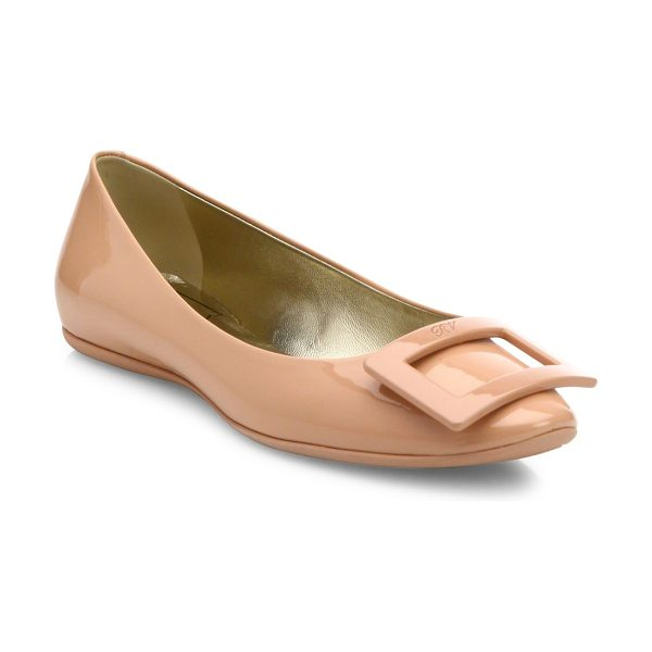 Roger Vivier gommette patent leather flats in nude - Glossy patent leather flat with tonal pilgrim buckle....