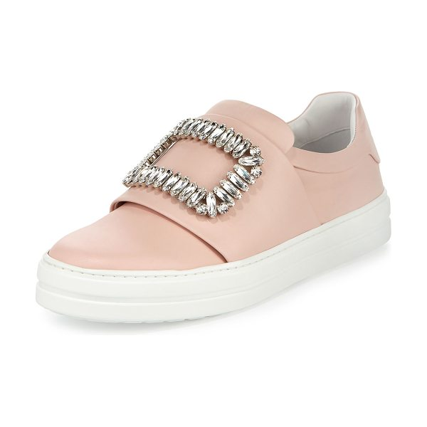 Roger Vivier Leather Strass Buckle Sneaker in pink - Roger Vivier leather low-top sneaker. Banded vamp with...