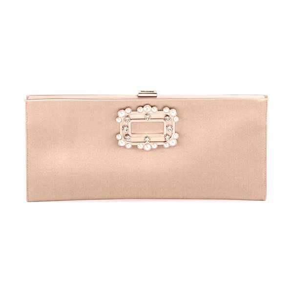 Roger Vivier Pilgrim Small Boudoir Clutch Bag in champagne - Roger Vivier small satin frame clutch bag. Pearlescent...