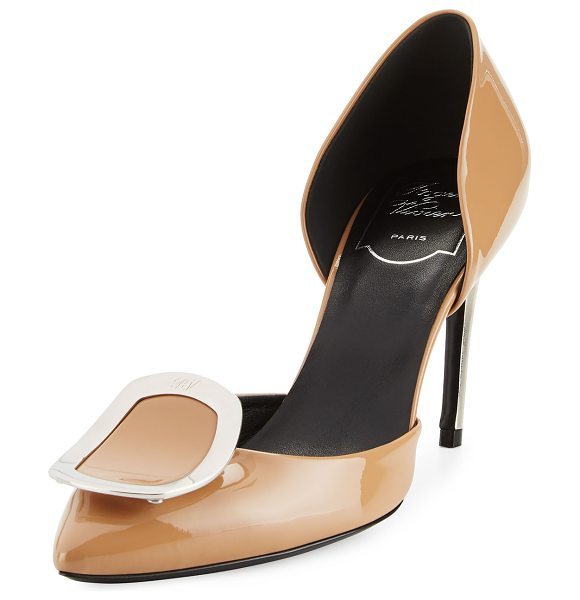"ROGER VIVIER Sexy Choc d'Orsay 85mm Pump in sand - Roger Vivier patent leather pump. 3.3"" covered heel...."