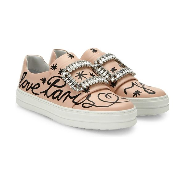 Roger Vivier sneaky viv love paris leather slip-on sneakers in light pink - Smooth leather sneakers boasting crystal adornments....
