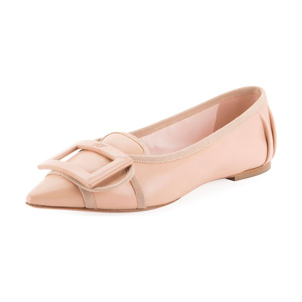 Roger Vivier Soft Gommettine Ballet Flats with Lacquered Buckle in nude