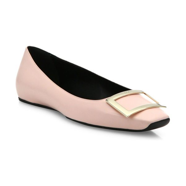ROGER VIVIER trompette ballet leather flats - Smooth leather flat with signature pilgrim buckle....