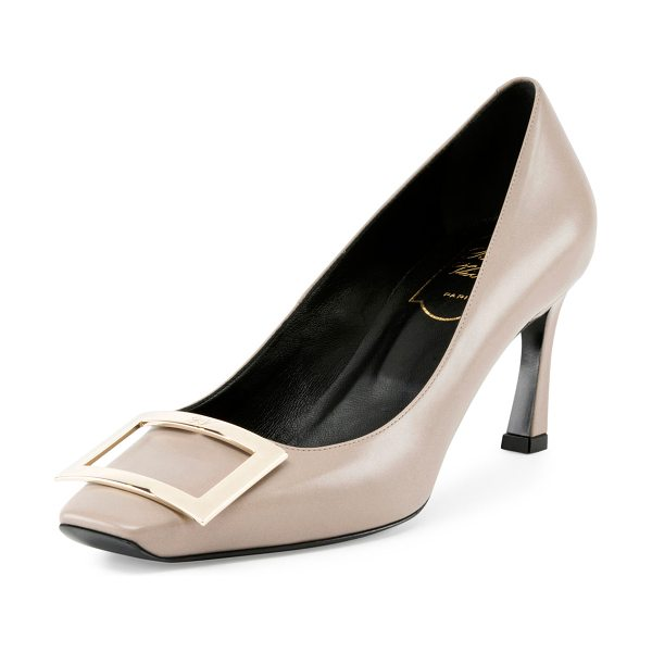 "Roger Vivier Trompette Leather 70mm Pump in beige - Roger Vivier smooth leather pump. 2.8"" covered heel...."