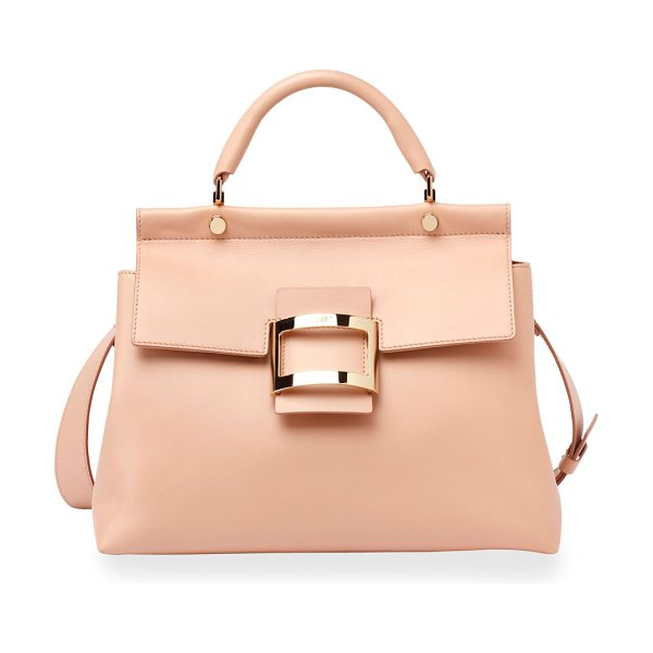 Roger Vivier Viv Cabas Medium Top-Handle Satchel Bag in nude - Roger Vivier smooth leather satchel bag. Golden...