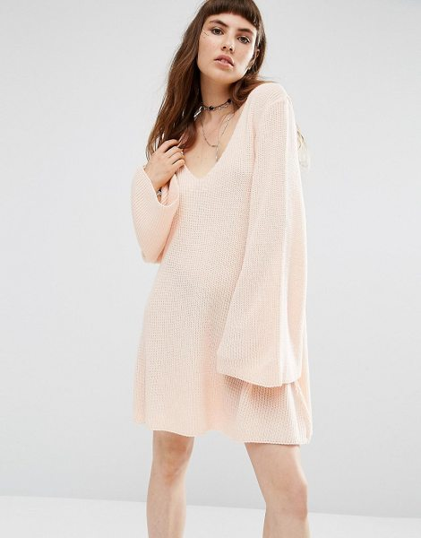 Rokoko Knitted Swing Dress in pink - Dress by Rokoko, Ribbed knit, Plunge neckline, Bell...