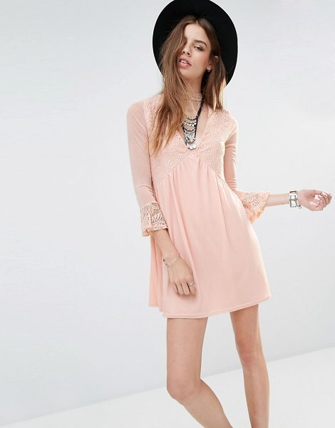 Rokoko Lace Insert Smock Dress With Choker Detail in pink - Dress by Rokoko, Soft-touch jersey, Lace contrast, Neck...