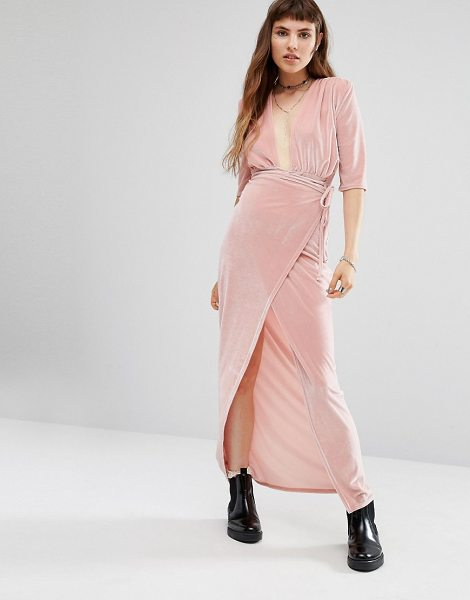 Rokoko Wrap Front Dresser Maxi Dress in pink - Maxi dress by Rokoko, Soft-touch velvet, Plunge...