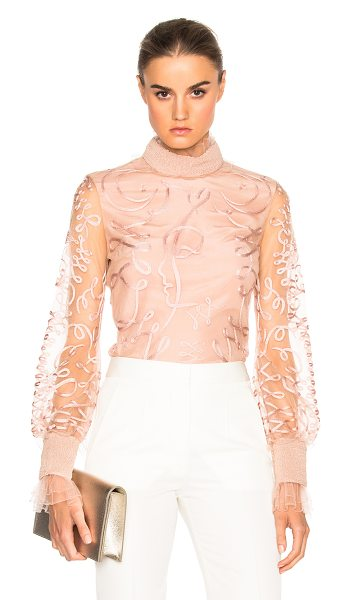 Roksanda Kielder Phantom Tulle Top in pink - Self: 93% poly 7% silk - Lining: 59% poly 41% silk. ...