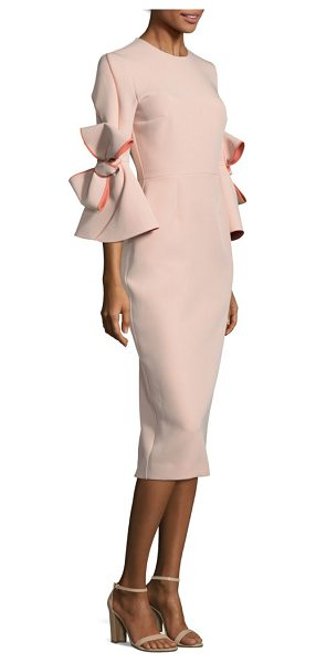 Roksanda lavete sheath dress in vintage rose - Bow-detail bell sleeves enhance elegant sheath dress....