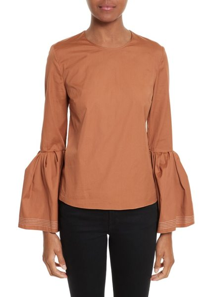 Roksanda truffaut bell sleeve top in desert sand - Dramatic, flowy bell sleeves add a trend-right touch to...